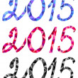 Vector 2015 New Year text, geometrical triangle numbers in icy frame — Stok Vektör #55149383