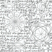 "Mathematical vector seamless pattern with figures, formulas and equations, ""handwritten on the copybook paper"". You can use any color of background — Vetor de Stock"