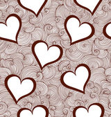 Valentine vector seamless pattern with hearts and curling lines — Stock Vector
