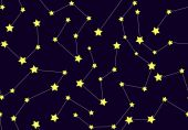 Vector seamless pattern with constellations — Stok Vektör