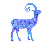 Vector New Year geometrical goat made of multicolored triangles. Happy New Year 2015 vector background — ストックベクタ