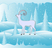 Beautiful vector background with symbol of the upcoming year 2015 goat and icy forest — ストックベクタ