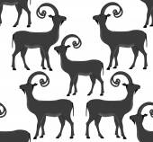Vector seamless pattern with goats - symbol of the upcoming year 2015 — Stock Vector