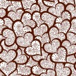 Beautiful valentine vector seamless pattern with many ornamental hearts. You can use it as a wedding background, invitation, greeting card — Stock Vector #55183343