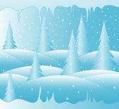 New year vector background with snow covered winter forest and icy icicles — Vector de stock