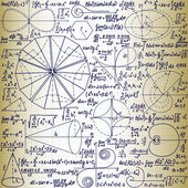 "Vector seamless pattern with mathematical figures, plots and formulas, ""handwritten on the old copybook paper"" — Vecteur"