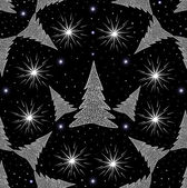 New year vector seamless pattern with Christmas trees and snowflakes — Wektor stockowy