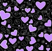 Beautiful valentine vector seamless pattern with violet hearts — Stock Vector