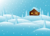 Beautiful new year vector background with little house in the snowy winter forest — Stock Vector