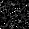 Beautiful vector seamless pattern with singing birds and musical notes — Stok Vektör #62074611