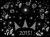 "Beautiful festive vector background with Christmas trees, fireworks and snowflakes and the ""2015!"" text — Stock vektor"
