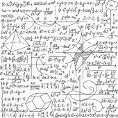 "Mathematical vector seamless pattern with formulas, plots and equations, ""handwritten on a copybook paper"" — Stock vektor"