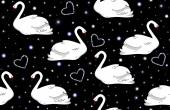 Beautiful vector wedding seamless pattern with white swans and hearts — Stockvector