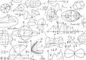 """Διάνυσμα άνευ ραφής μαθηματικά μοτίβο με μαθηματική στοιχεία, υπολογισμοί και οικόπεδα, """"χειρόγραφη για τη Λευκή Βίβλο"""" — Διανυσματικό Αρχείο"""