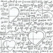 """Vector mathematical seamless pattern with formulas and plots of hearts, """"handwritten on a copybook paper"""" — Stock Vector"""