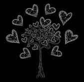 Vektor-Baum der Liebe mit Herzen. Sie können als Hintergrund Hochzeit, Einladung, Grußkarte — Stockvektor