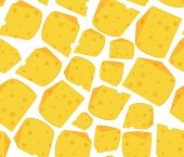 Food vector seamless pattern with many delicious slices of cheese — Stockvektor