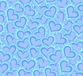 Vector seamless pattern with abstract blue hearts. Endless texture — Stock Vector