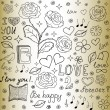 "Abstract vector seamless pattern with the words of love, roses, books, flowers and hearts, ""handwritten on the old paper"" — Stock Vector #71496229"
