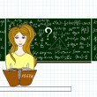 Vector education illustration with a beautiful girl sitting at desk in classroom near the blackboard with formulas, figures and calculations. Educational design — Stock Vector #71497587