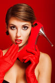 Beautiful girl with a red shoe — Foto Stock