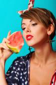 Young beautiful girl with watermelon — Stock fotografie