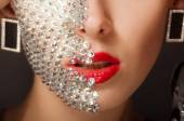 Beautiful girl with makeup with crystals — Foto Stock