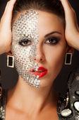 Beautiful girl with makeup with crystals — Stock Photo