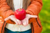 Red apple in the children's hands in a park — Stock Photo
