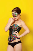 Young beautiful girl in fashionable clothes Leather punk and sunglasses — Foto de Stock