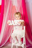 Little girl  in pink tutu skirt — Stock Photo