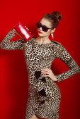 Beautiful girl in a trendy dress and red clutch — Zdjęcie stockowe