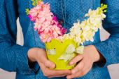 Hands of a  girl with spring flowers — Stock Photo