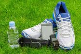 Modern sport equipment for running on the grass — Stock Photo