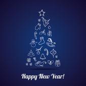 Nyår gratulationskort. — Stockvektor