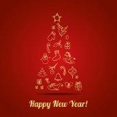 Nieuwjaar wenskaart. — Stockvector