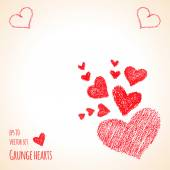 Grunge red hearts — Stock Vector