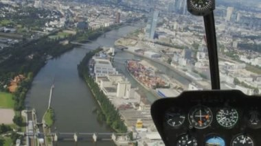 Skyline of Frankfurt from Helicopter — Stock Video