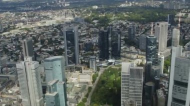 Frankfurt Skyline and City from Helicopter — Stock Video