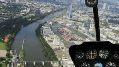 Skyline of Frankfurt from Helicopter with cockpit — Stock Video