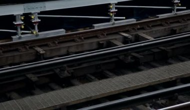 Overground rails at embankment — Stock Video