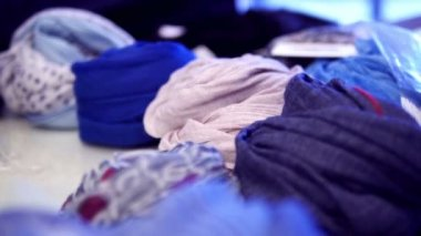 Scarves in fashion boutique — Stock Video
