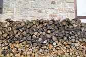 Chopped wood in garden — Stock Photo