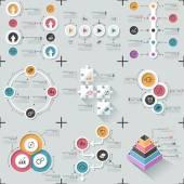 Set van 9 plat minimale infographics — Stockvector