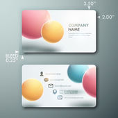 Modern simple light business card template with realistic spheres — Stock Vector