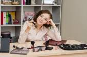 Business woman lost in thought at lunchtime — Stock Photo