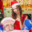 Girl with a Fan Christmas gift certificates — Foto de Stock   #75934291