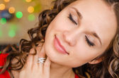 Close-up portrait of a happy girl dreaming — Stock Photo