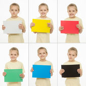 Collage of six portraits girls with different colored monochromatic cards — Stock Photo