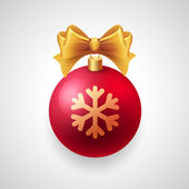 Merry Christmas  card with red bauble and gold ribbon — Stock Vector